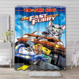 Tom and Jerry Fast Furry Shower Curtain Waterproof Polyester