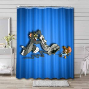 Tom and Jerry Shower Curtain Waterproof Polyester