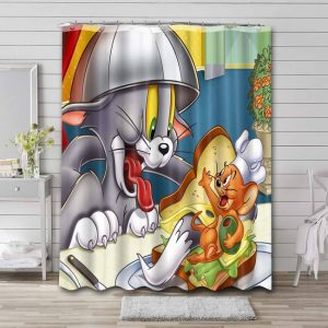 Tom and Jerry Show Waterproof Bathroom Shower Curtain