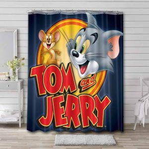 Tom and Jerry Show Waterproof Curtain Bathroom Shower