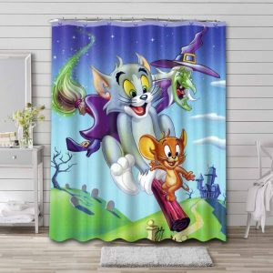 Tom and Jerry Cartoon Shower Curtain Waterproof Polyester