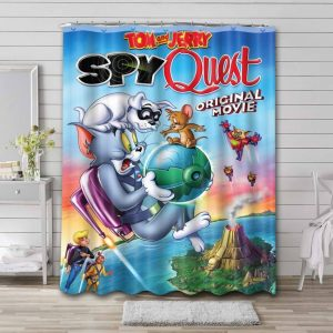 Tom and Jerry Spy Quest Shower Curtain Bathroom Waterproof
