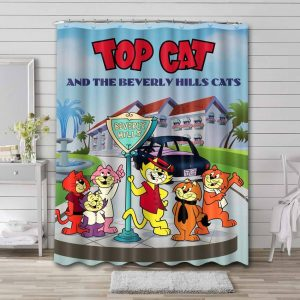 Top Cat Shower Curtain Waterproof Polyester