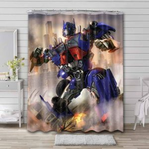Transformers Old Optimus Prime Shower Curtain Waterproof Polyester