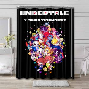 Undertale All Characters Shower Curtain Waterproof Polyester