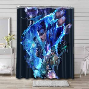 Valorant Shower Curtain Waterproof Polyester