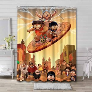 Victor and Valentino Cartoon Shower Curtain Waterproof Polyester
