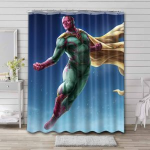 Vision Marvel Comics Shower Curtain Waterproof Polyester