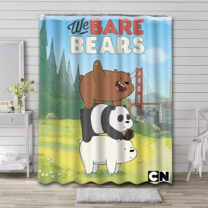 We Bare Bears Funny Shower Curtain Waterproof Polyester