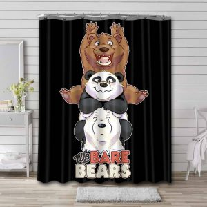 We Bare Bears Shower Curtain Waterproof Polyester