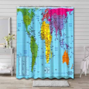 World Map Real Countries Sizes Shower Curtain Bathroom Waterproof