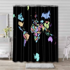World Map Real Countries Sizes Shower Curtain Bathroom Decoration