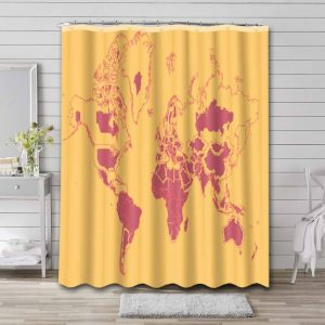 World Map Real Countries Sizes Shower Curtain Waterproof Polyester