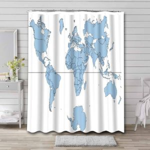 World Map Real Countries Sizes Bathroom Shower Curtain Waterproof