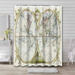 World Map Geographical Earth Bathroom Curtain Shower Waterproof