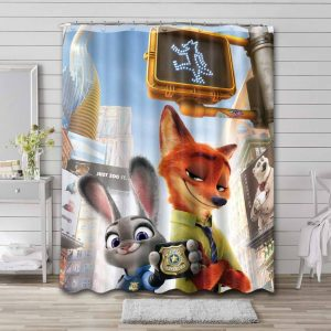 Zootopia Shower Curtain Waterproof Polyester