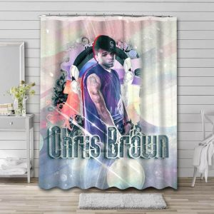 Chris Brown Singer Shower Curtain Waterproof Polyester Fabric