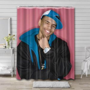 Chris Brown Photo Shower Curtain Waterproof Polyester Fabric