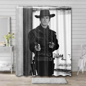 Clint Eastwood Shower Curtain Bathroom Decoration Waterproof Polyester Fabric.