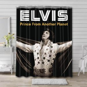 Elvis Presley Prince From Another Planet Bathroom Curtain Shower Waterproof Fabric