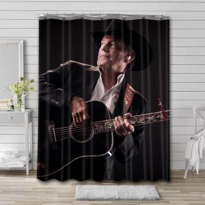 George Strait Guitar Shower Curtain Waterproof Polyester Fabric