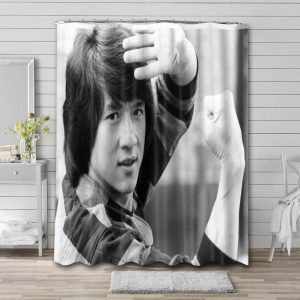 Jackie Chan Shower Curtain Bathroom Decoration Waterproof Polyester Fabric.