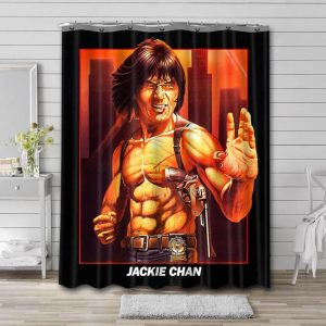 Jackie Chan Movies Shower Curtain Waterproof Polyester Fabric