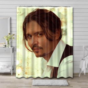 Johnny Depp Photo Shower Curtain Waterproof Polyester Fabric