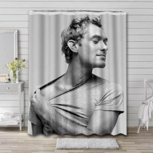 Jude Law Shower Curtain Bathroom Decoration Waterproof Polyester Fabric.