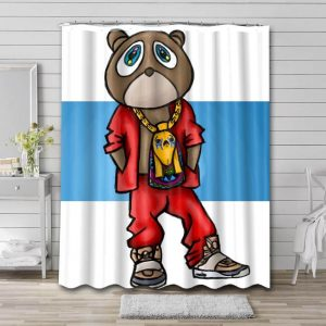 Kanye West Bear Shower Curtain Waterproof Polyester Fabric