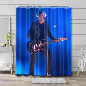 Keith Urban On Stage Bathroom Shower Curtain Waterproof Polyester