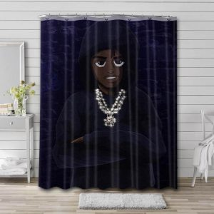 Lil Tjay Painting Shower Curtain Waterproof Polyester Fabric