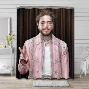 Post Malone Shower Curtain Bathroom Decoration Waterproof Polyester Fabric.