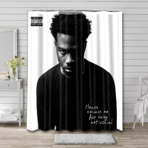 Roddy Ricch Anti Social Shower Curtain Waterproof Polyester Fabric
