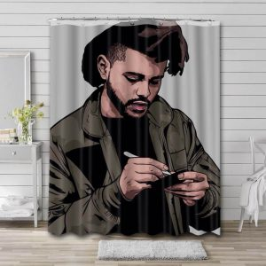The Weeknd Artwork Shower Curtain Waterproof Polyester Fabric