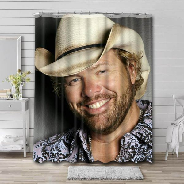 Toby Keith Shower Curtain Bathroom Decoration Waterproof Polyester Fabric.