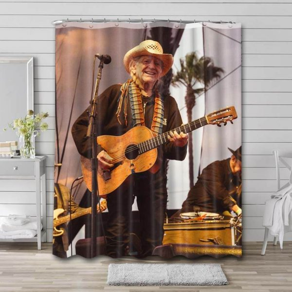 Willie Nelson Shower Curtain Bathroom Decoration Waterproof Polyester Fabric.