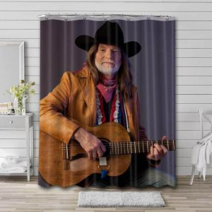 Willie Nelson Guitar Shower Curtain Waterproof Polyester Fabric