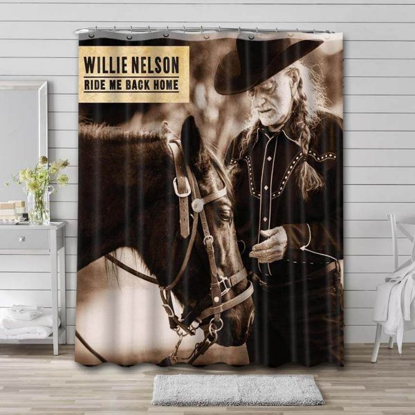 Willie Nelson Ride Me Back Home Shower Curtain Waterproof Polyester Fabric