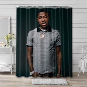 YoungBoy Never Broke Again Photo Bathroom Shower Curtain Waterproof Polyester
