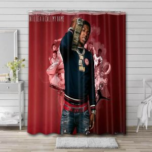 YoungBoy Never Broke Again Death Call My Name Shower Curtain Waterproof Polyester Fabric