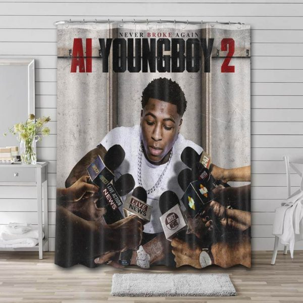 YoungBoy Never Broke Again 2 Bathroom Shower Curtain Waterproof Polyester