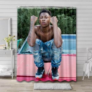 YoungBoy Never Broke Again Bathroom Shower Curtain Waterproof Polyester