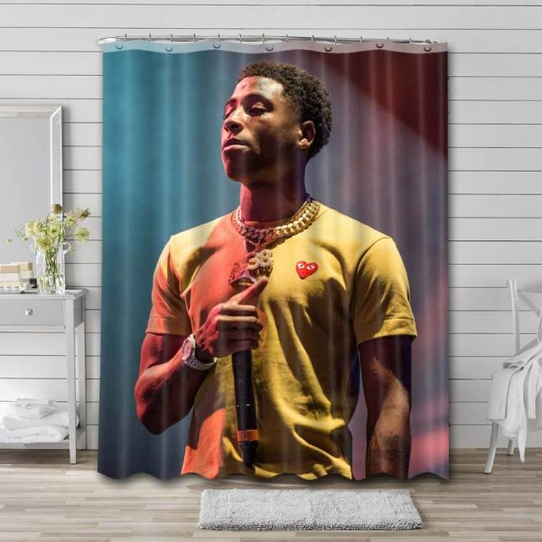 YoungBoy Never Broke Again Shower Curtain Bathroom Decoration Waterproof Polyester Fabric.